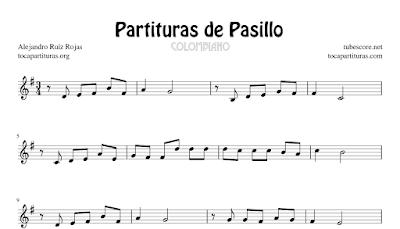 6 Partituras de Pasillo Colombiano de El Cucarrón, La Gata Golosa, Mi Amigo el Clarinete, Patasdhilo, Vino Tinto y Espumas