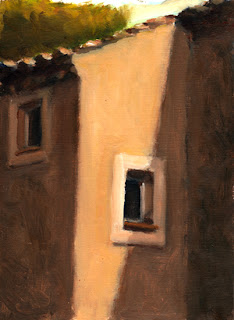 Oil painting of afternoon sun shining on the side of a stone building with recessed windows and a tiled roof.