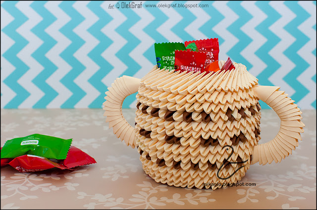475. Pojemnik na słodkości z origami / 3d origami little pot