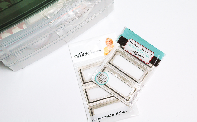adding adhesive labels to a snapware organizer