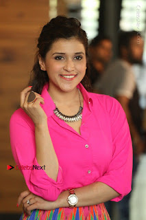 Actress Mannar Chopra in Pink Top and Blue Skirt at Rogue movie Interview  0127.JPG