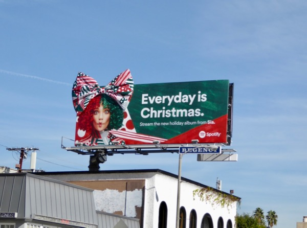 Sia Christmas bow Spotify billboard Sunset Strip