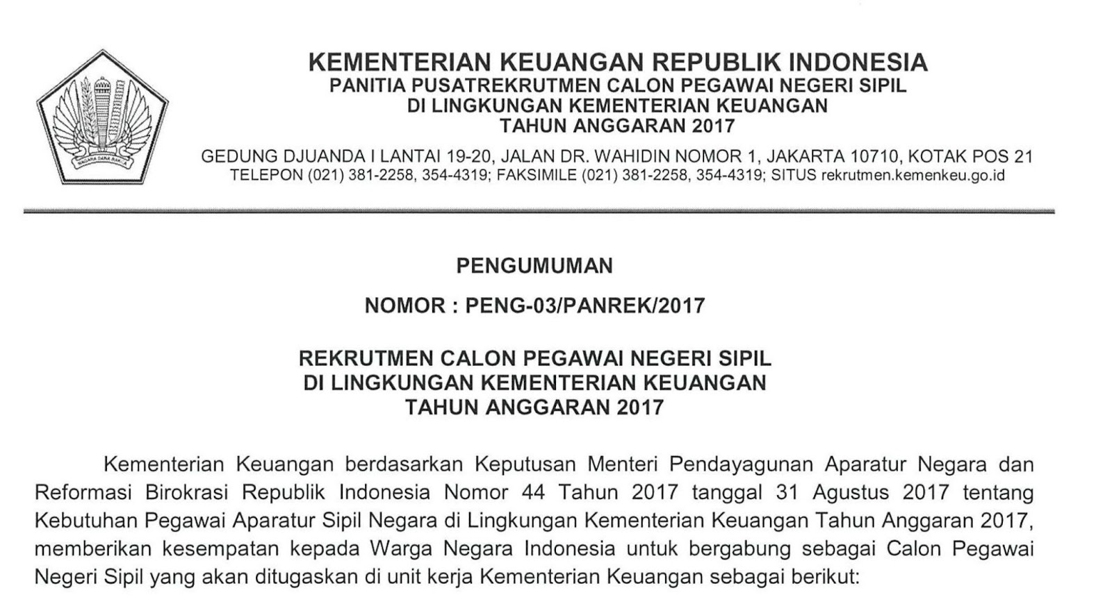 resmi kementerian keuangan ri buka 2 880 lowongan cpns