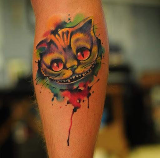 Esse incrível aquarela gato de Cheshire tatuagem