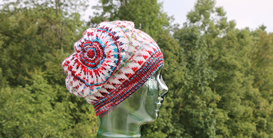 Side View of Knit Dingle Hat Worn with Crown Flopped to the Side