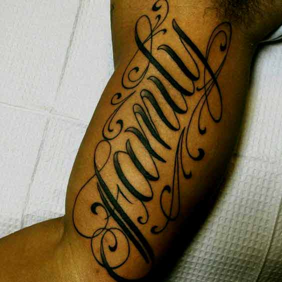 Family Tattoo Design On Inner Bicep Designs For Men