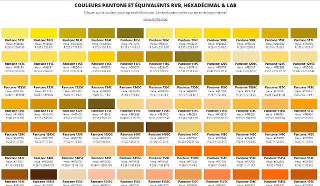 Colores Pantone y equivalentes en RGB, Hexadecimal y Lab