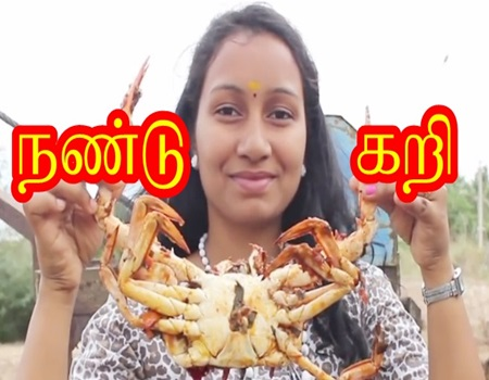 Beautiful Girl cooking and eating a BIG CRAB