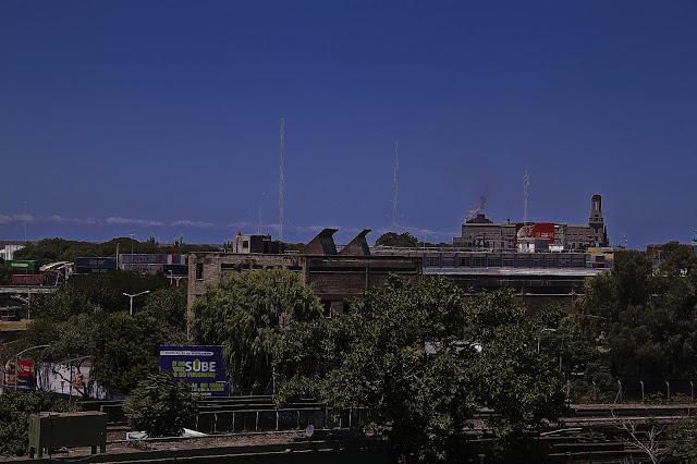 Una vista de árboles cerca de las vías del ferrocarril