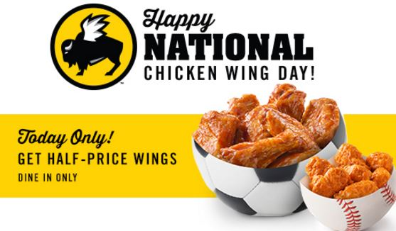 graphic regarding Buffalo Wild Wings Printable Coupons referred to as Fifty percent Rate Hen Wings at Buffalo Wild Wings At present 7/29