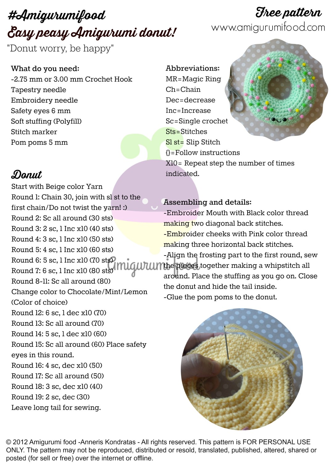 Amigurumi Donut Patron : Amigurumi Food
