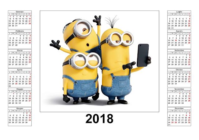 I Minions - Calendario 2018 da stampare