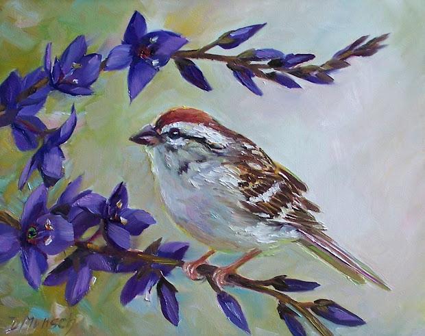 Donna Munsch Fine Art Original Oil Painting Sparrow