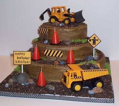 Birthday Cake Construction Theme Cartoon