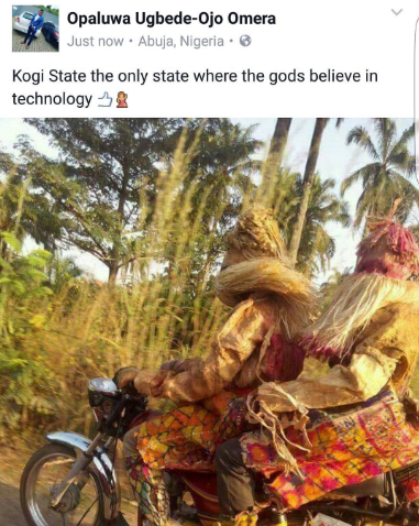 Two Masquerades Spotted Riding On A Motorcycle In Kogi State