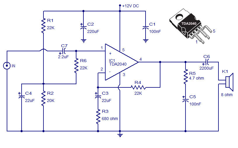 tda2040 car stereo amplifier circuit
