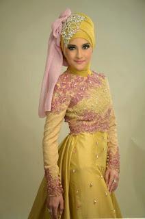 Kebaya Modern Muslimah Warna Gold Model Baru