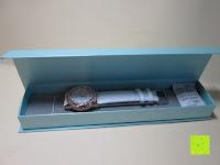 auspacken: Ostan Damen Uhren Mode Weiß Leder Runde Zifferblatt mit Zirkonia Armkette Armband Armbanduhr Uhr