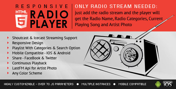 Free Download Radio Player With Playlist Shoutcast and Icecast Javascript Plugin