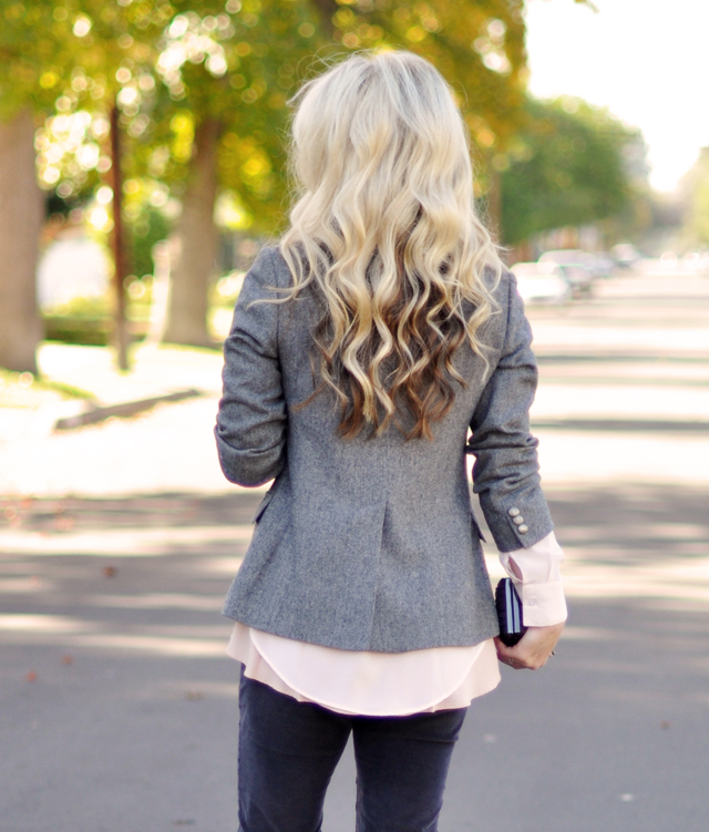 waved long hair, gray pink oxblood plum outfit