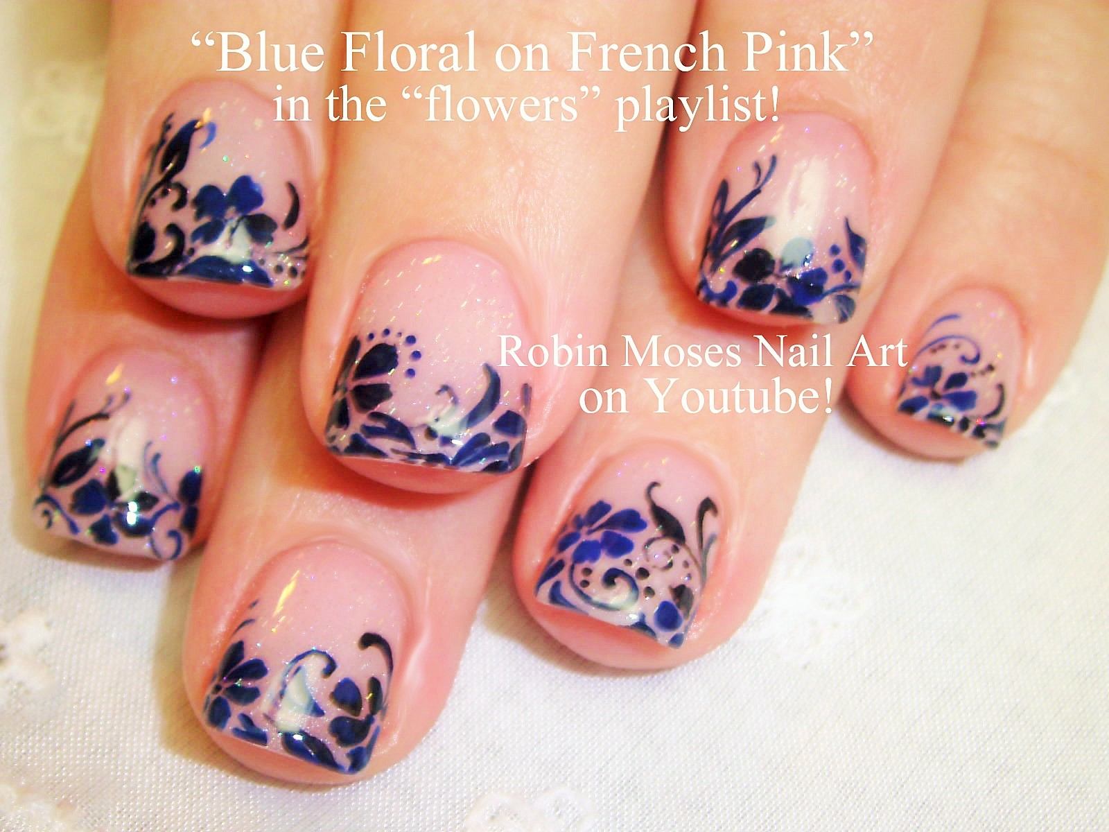 Nail Art by Robin Moses: Navy Nail art filled with dandelion wishes ...