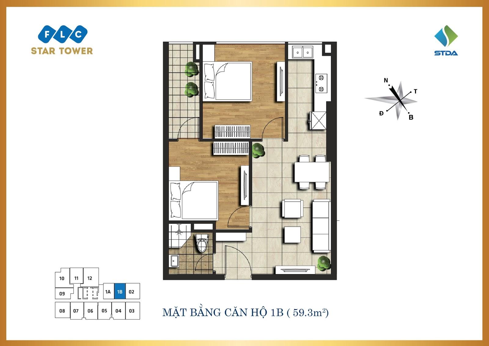 Thiết kế căn hộ 1B - Chung cư FLC Star Tower