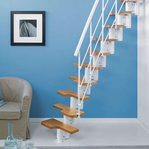 small staircases with metal structure and wooden stair kits
