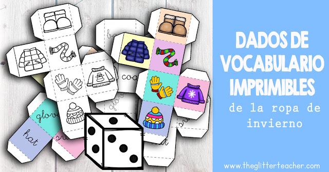 5+ dados de vocabulario para trabajar la ropa de invierno