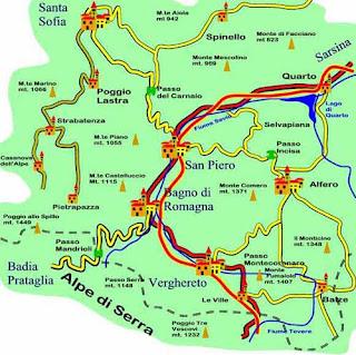 Cartina geografica Passo del Verghereto