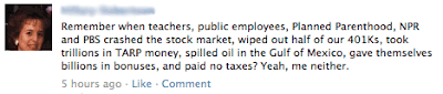 Facebook post with added words for public employees, spilled oil in the Gulf of Mexico and billions in bonuses.
