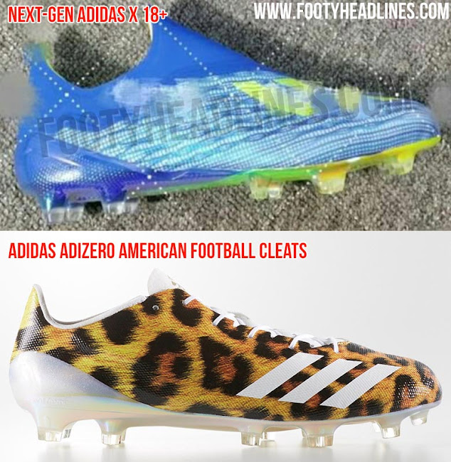 35c223d7a Both the next-generation Adidas X 18+ football boots and the Adidas Adizero  American Football cleats have a ultra-lightweight upper and a lightweight  sole ...