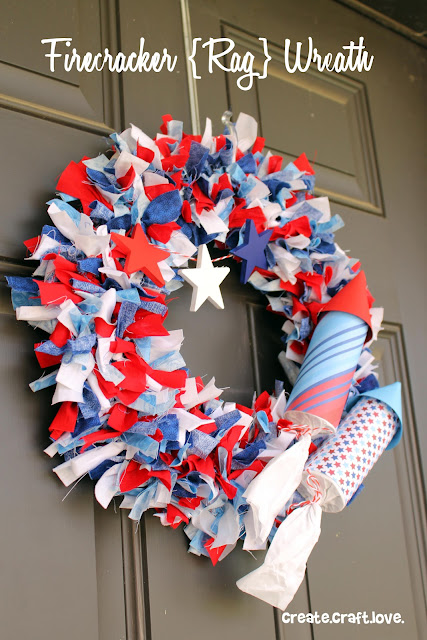 How to Make a Firecracker Rag Wreath via createcraftlove.com #wreath #fourthofjuly