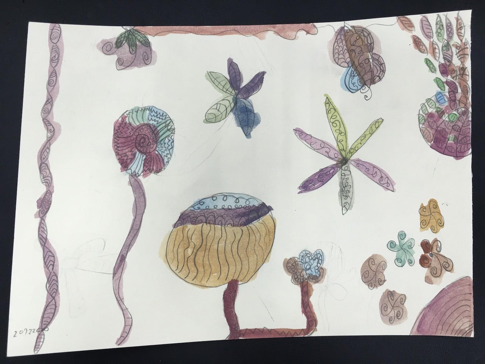 教學紀錄-美勞教學及作品: 水彩 淡彩 鉛筆打稿