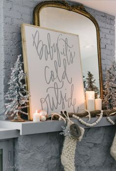 White stockings hung on fireplace rromantic Farmhouse Christmas holiday decorating shabby chic
