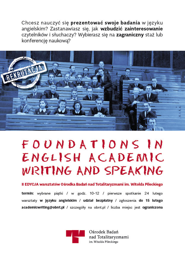 Foundations in English Academic Writing & Speaking. II edycja warsztatów OBnT - plakat reklamujący