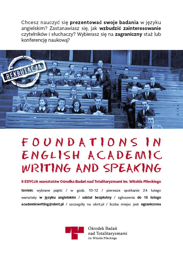 Foundations in English Academic Writing & Speaking. II edycja warsztatów OBnT - plakat reklamujący