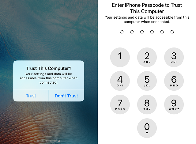 iOS11 now requires a PIN or passcode to trust and sync to a new PC