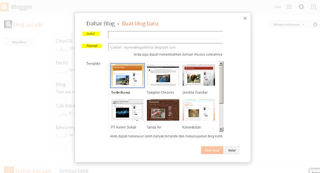 cara membuat blog di blogger , paduan , pemula , tutorial , membuat blog gratis , blogging , mudah , blogspot ,