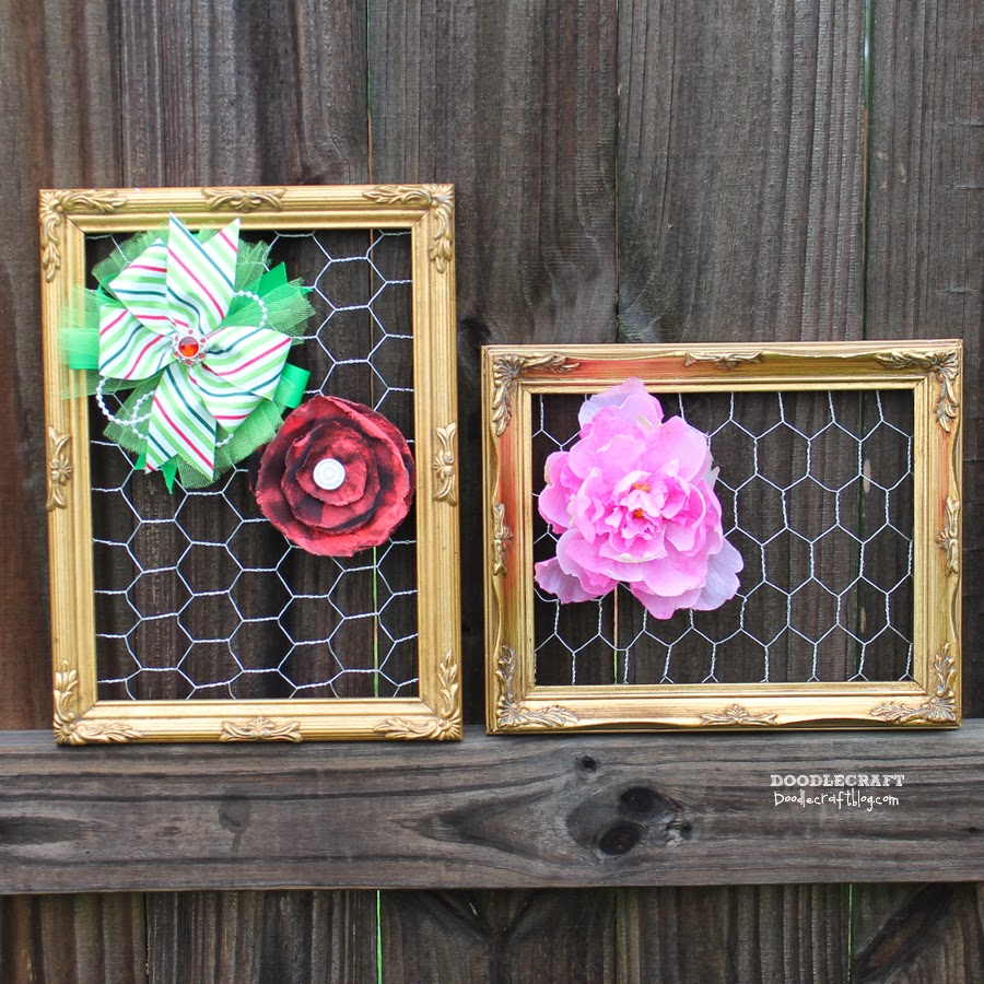 Custom Jewelry Display Frame: Doodlecraft: Chicken And Mesh Wire Vintage Picture Frames