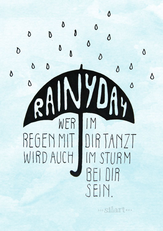 Wer im Regen mit dir tanzt, lettering card