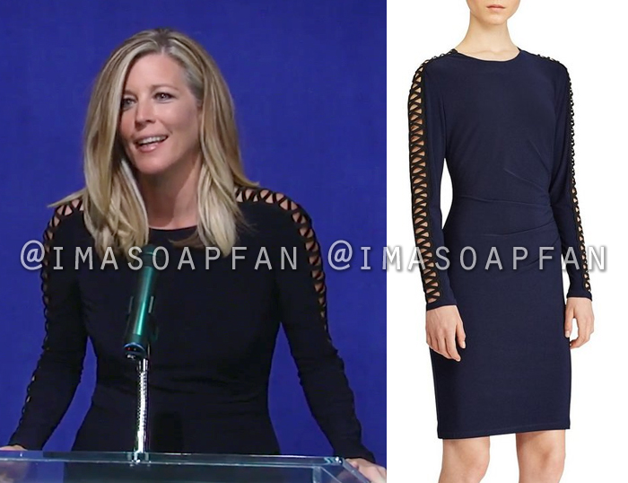 Carly Corinthos, Laura Wright, Navy Blue and Black Dress with Lace-Up Sleeves, General Hospital, GH