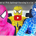 Blue Spiderman w/ Pink Spidergirl Dancing in a Car - Superhero Funny Movie in Real Life