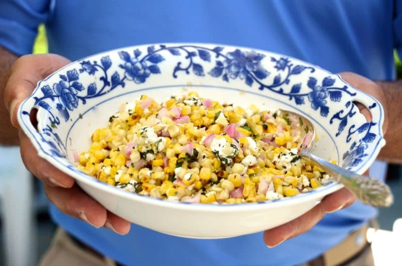Grilled Corn Salad with Mint and Feta