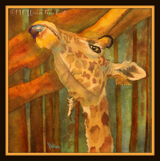 giraffe zoo mixed media watercolor pastel 30in30 ncwren