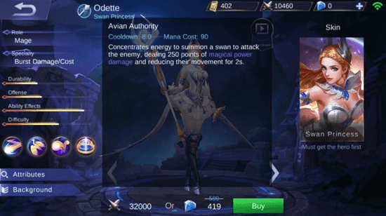 Skills Hero Odette - Mobile Legends