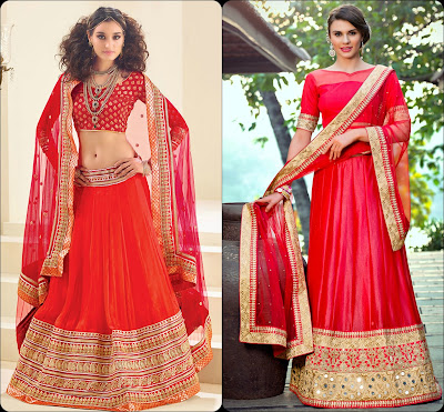 Red Lehenga Choli, Lehenga Choli, Lehengas from India