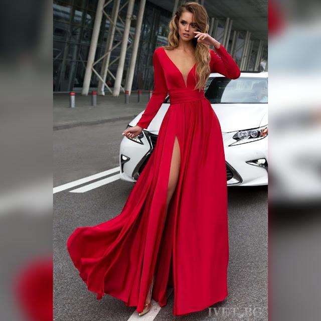 Εντυπωσιακό μάξι κόκκινο φόρεμα OPHELIA RED
