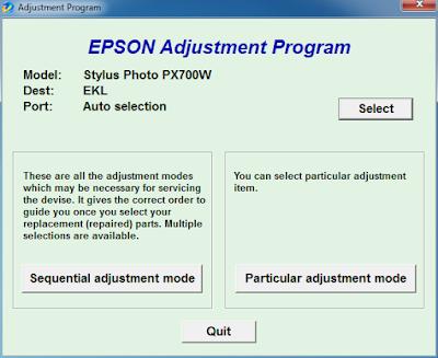 Resetter Epson Stylus Photo PX700w
