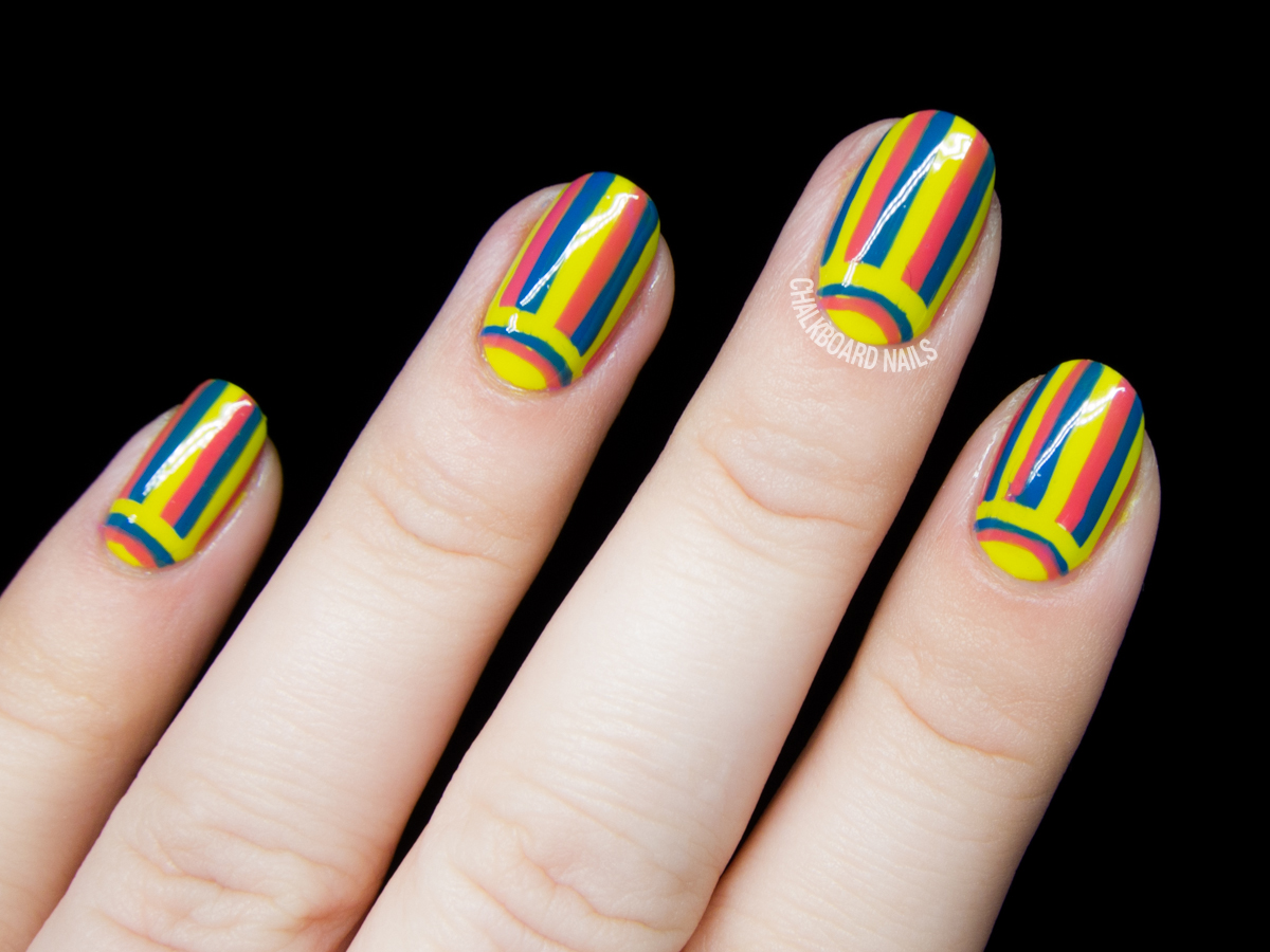 Electric carnival half moon nail art by @chalkboardnails