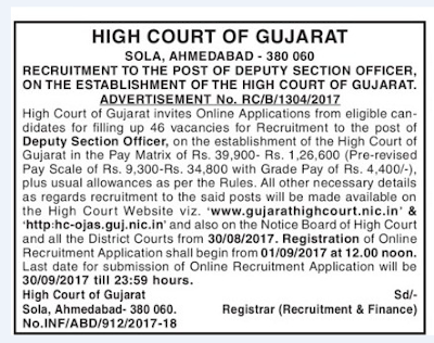 Gujarat High Court 46 Deputy Section Officer Recruitment 2017 Last Date 30th September 2017